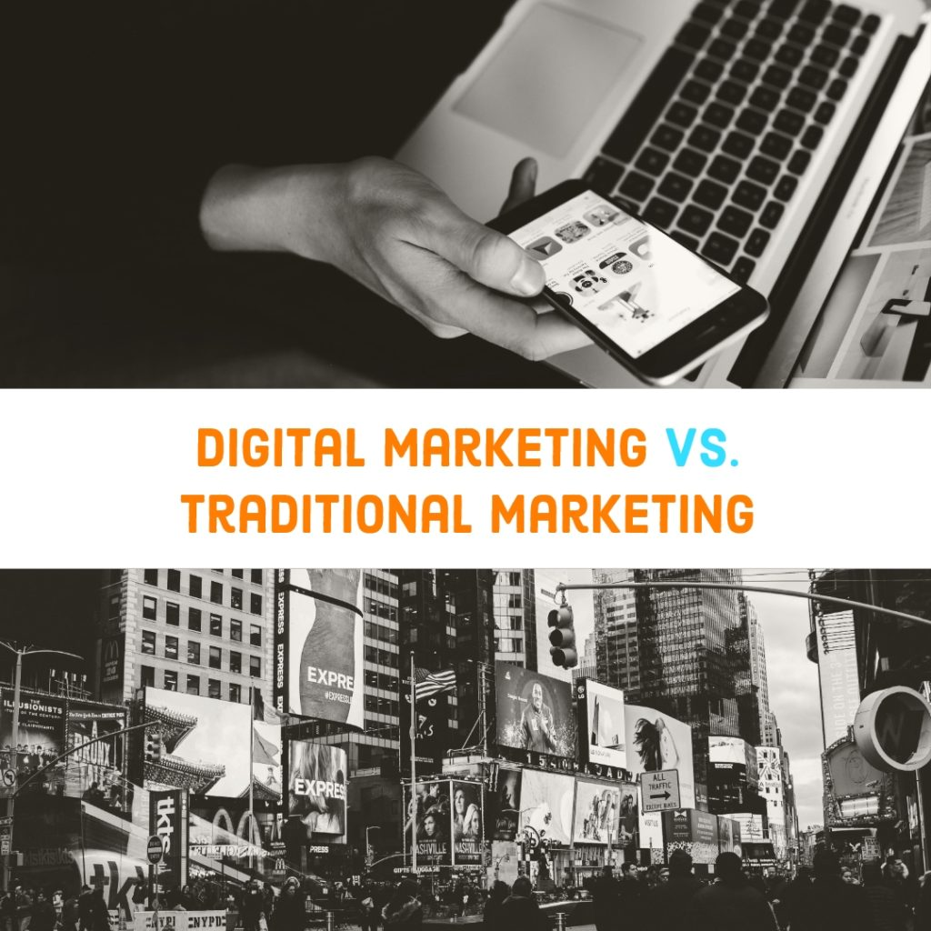 Flying Cork Digital Marketing versus Traditional marketing graphic