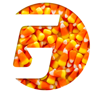 Gamma Sports Flying Cork client logo Halloween themed with candy corn 2