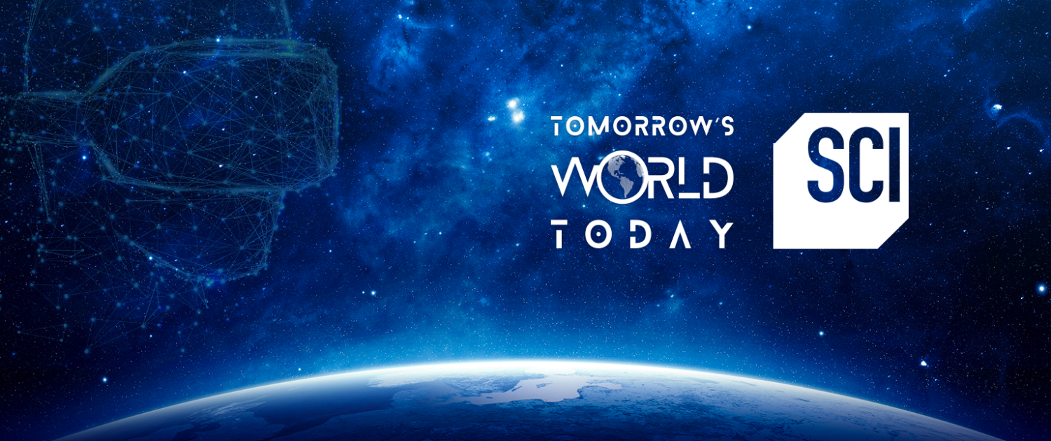 Flying Cork client Tomorrow's World Today logo with the Science Channel logo on a space background