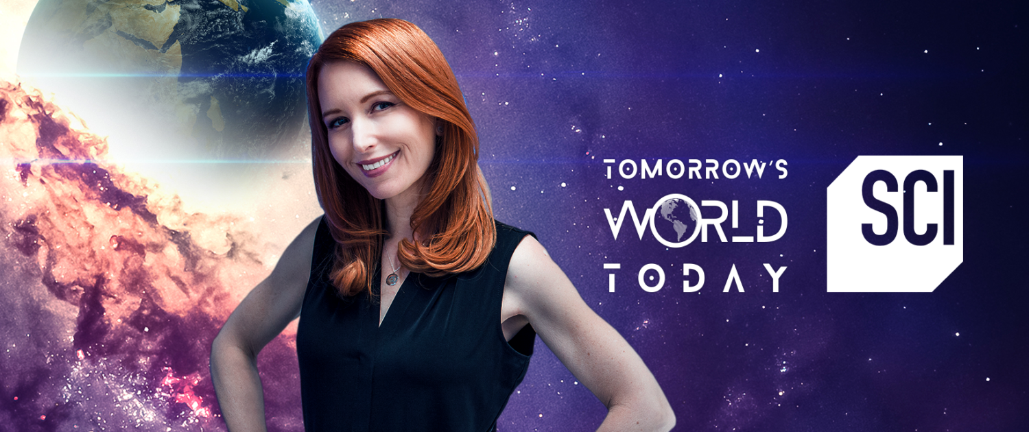 Tamara in front of a space background with the Tomorrow's World Today and Science Channel logos